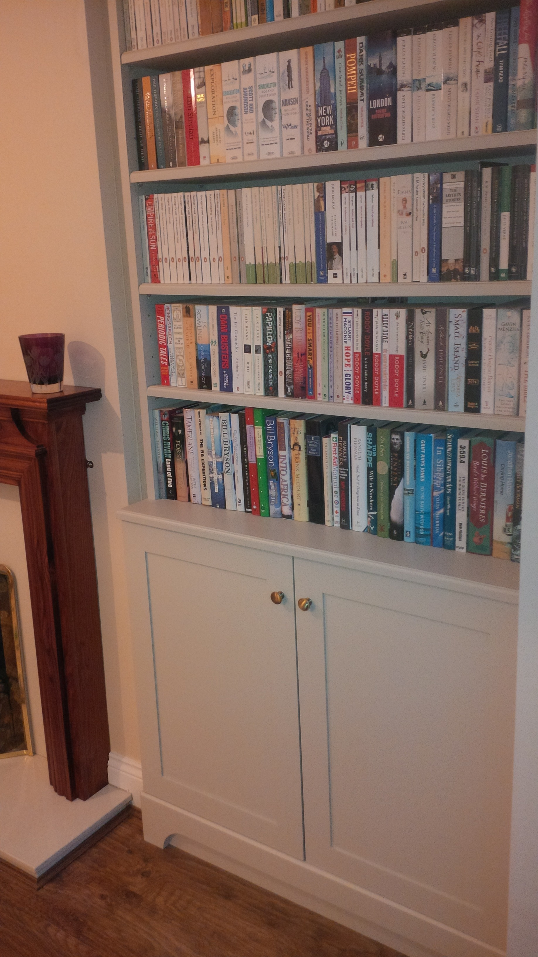 Bespoke book cases after painting and fitting