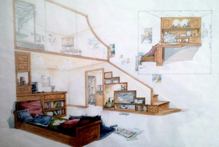 Childs bedroom with mezzanine floor and study area
