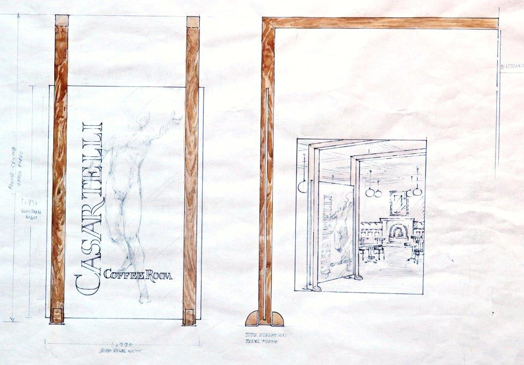 Sketch for resturent entrance screen